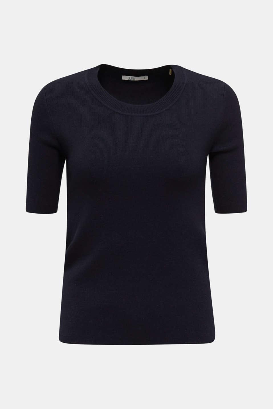 Short-sleeved jumper in blended cotton, NAVY, detail image number 6