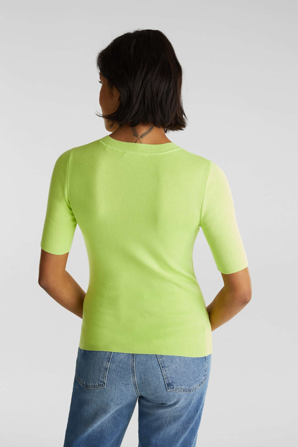 Short-sleeved jumper in blended cotton, LIME YELLOW, detail image number 3