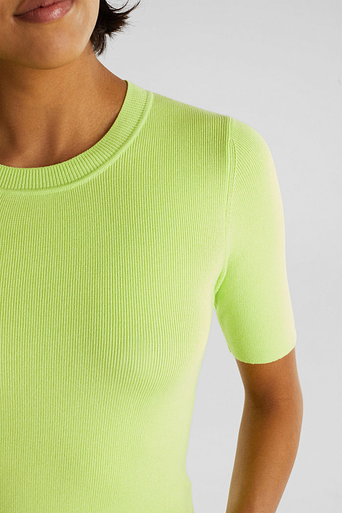 Kurzarm-Pullover aus Baumwoll-Mix, LIME YELLOW, detail image number 2