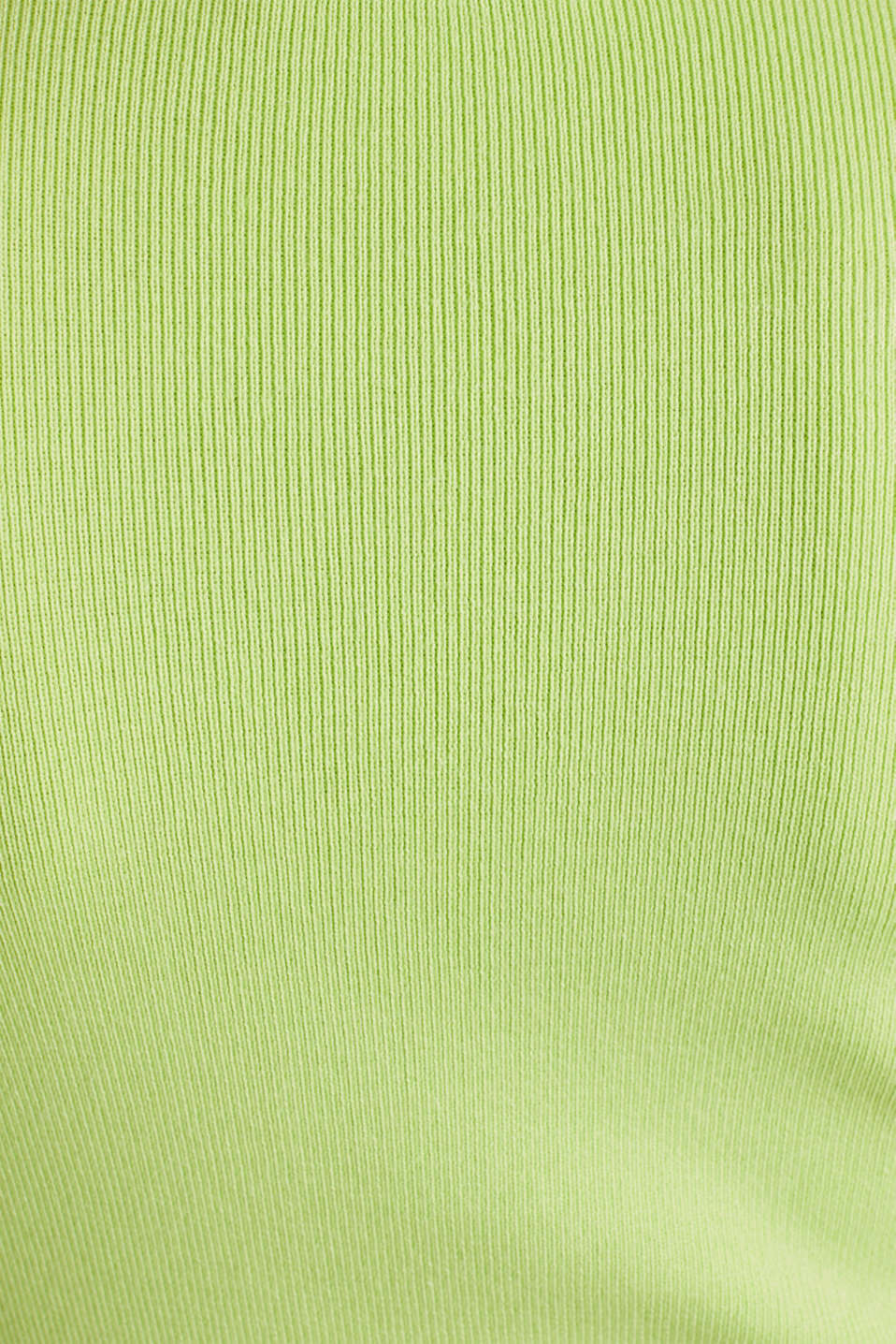 Short-sleeved jumper in blended cotton, LIME YELLOW, detail image number 4