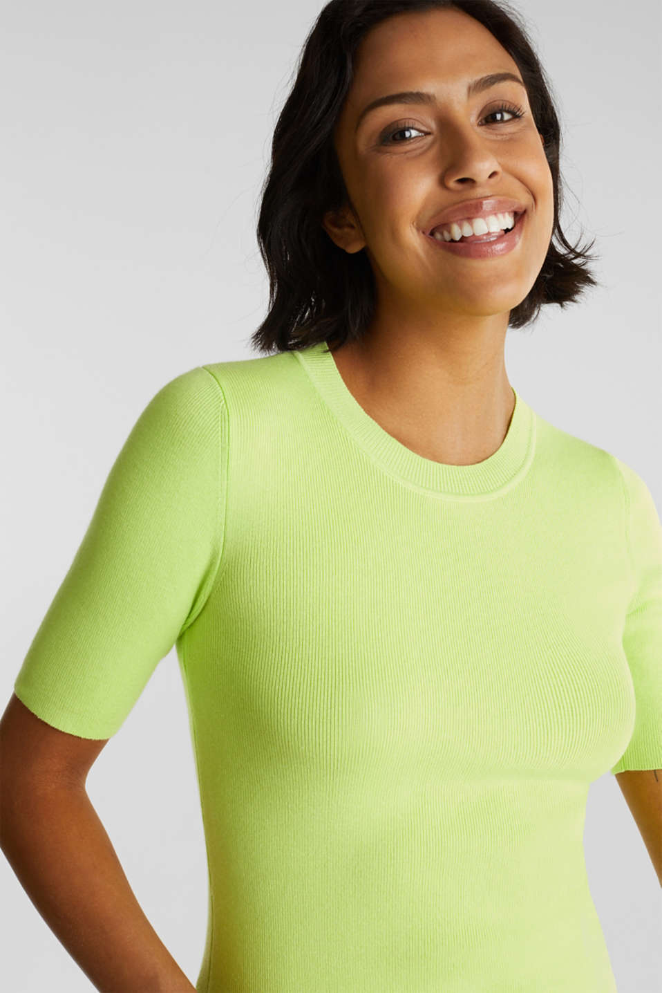 Short-sleeved jumper in blended cotton, LIME YELLOW, detail image number 5