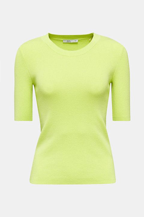 Short-sleeved jumper in blended cotton