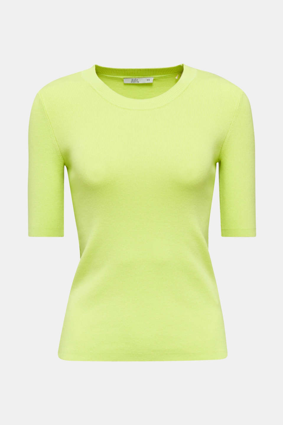 Short-sleeved jumper in blended cotton, LIME YELLOW, detail image number 6