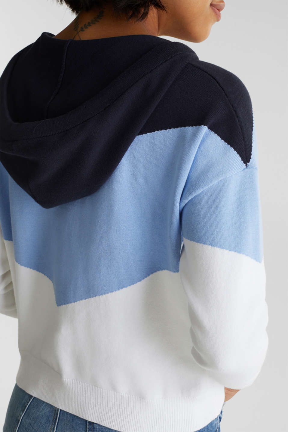 Knitted cardigan in a colour block style, BLUE LAVENDER 2, detail image number 5