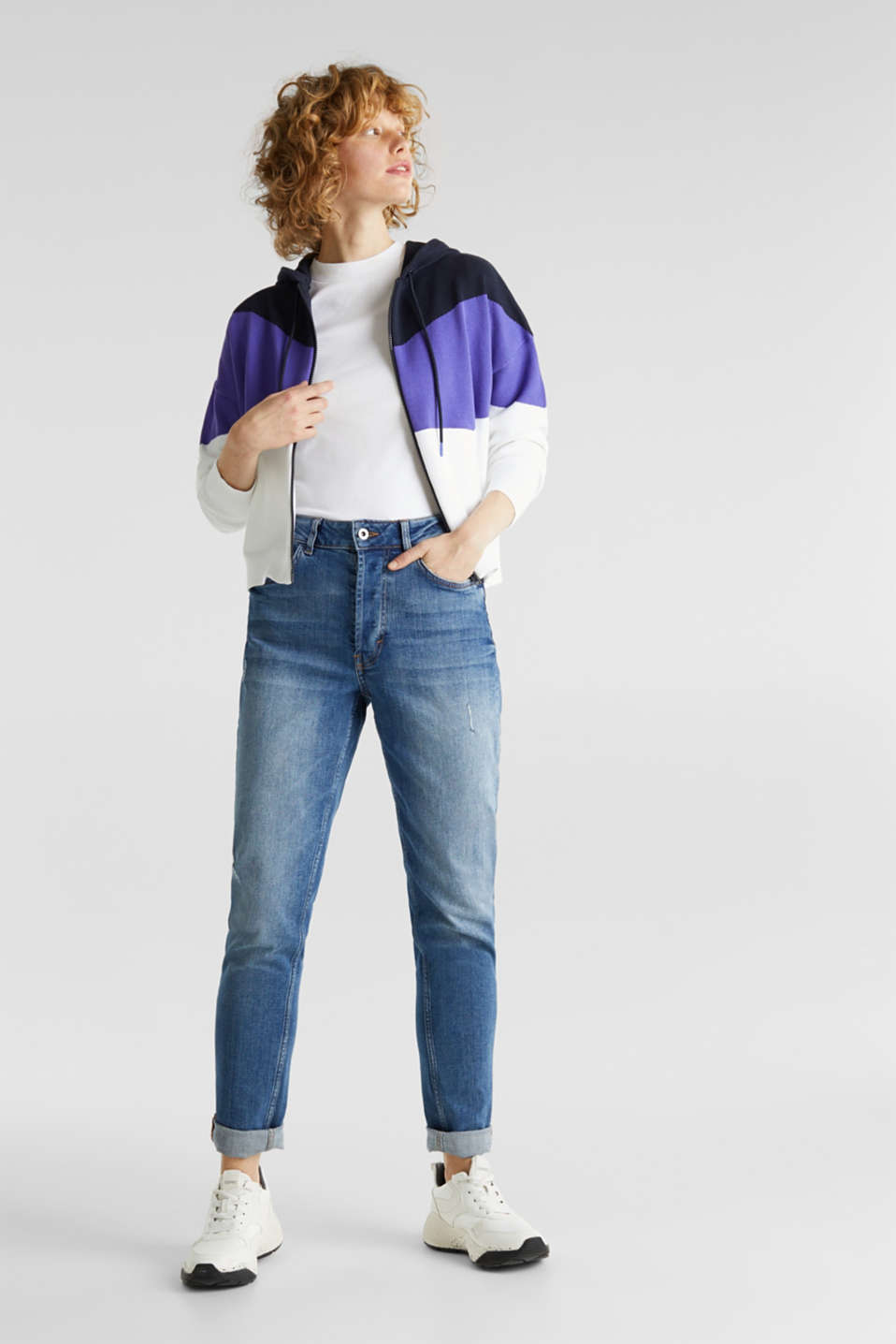 Knitted cardigan in a colour block style, DARK LAVENDER, detail image number 1