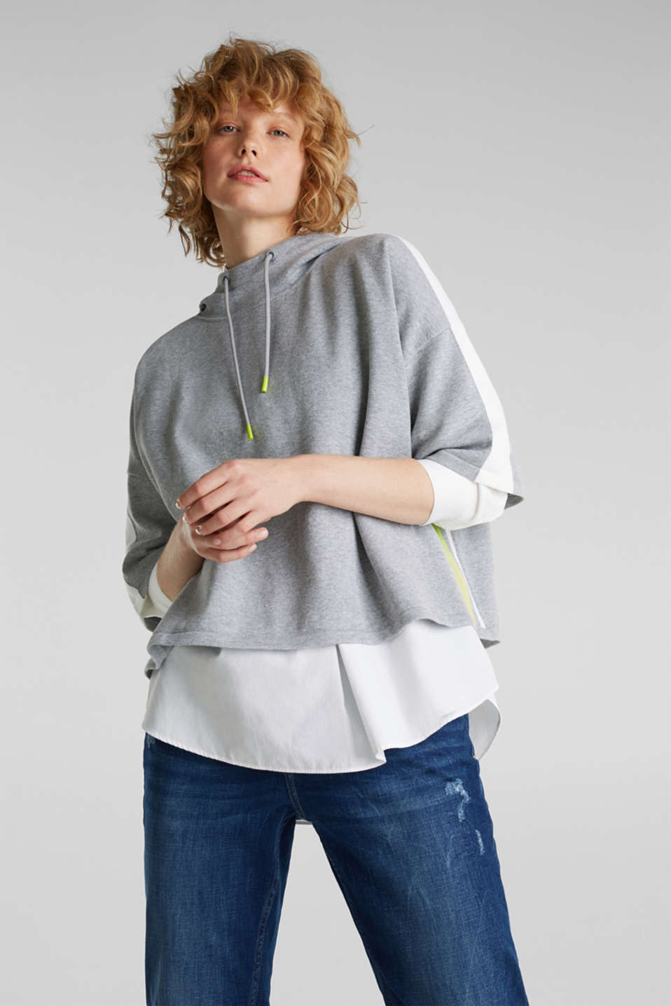 Boxy hoodie jumper with stripes, LIGHT GREY 5, detail image number 0