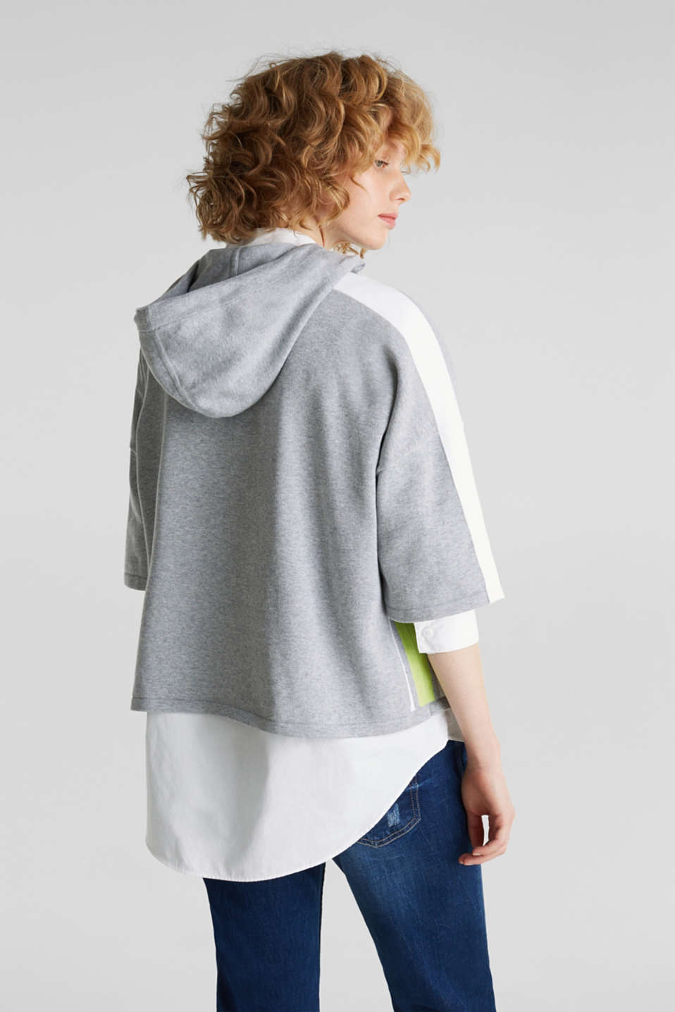 Boxy hoodie jumper with stripes, LIGHT GREY 5, detail image number 3