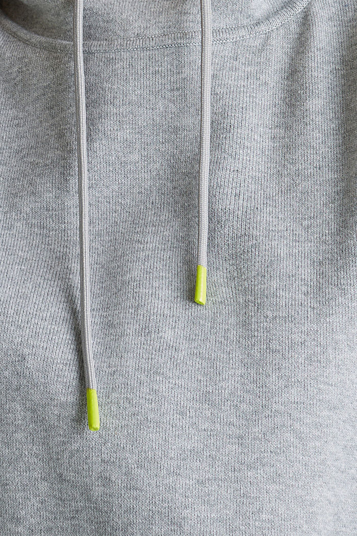 Boxy hoodie jumper with stripes, LIGHT GREY, detail image number 4