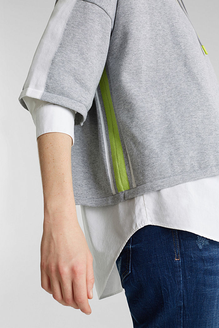 Boxy hoodie jumper with stripes, LIGHT GREY, detail image number 5