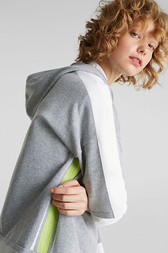 Boxy hoodie jumper with stripes, LIGHT GREY, detail image number 6