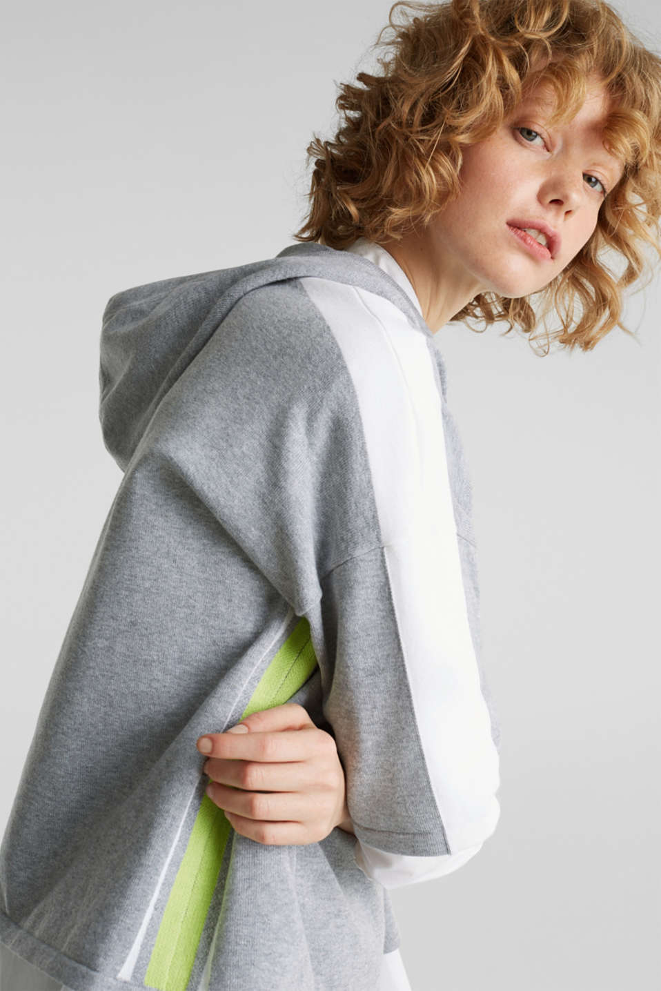 Boxy hoodie jumper with stripes, LIGHT GREY 5, detail image number 6