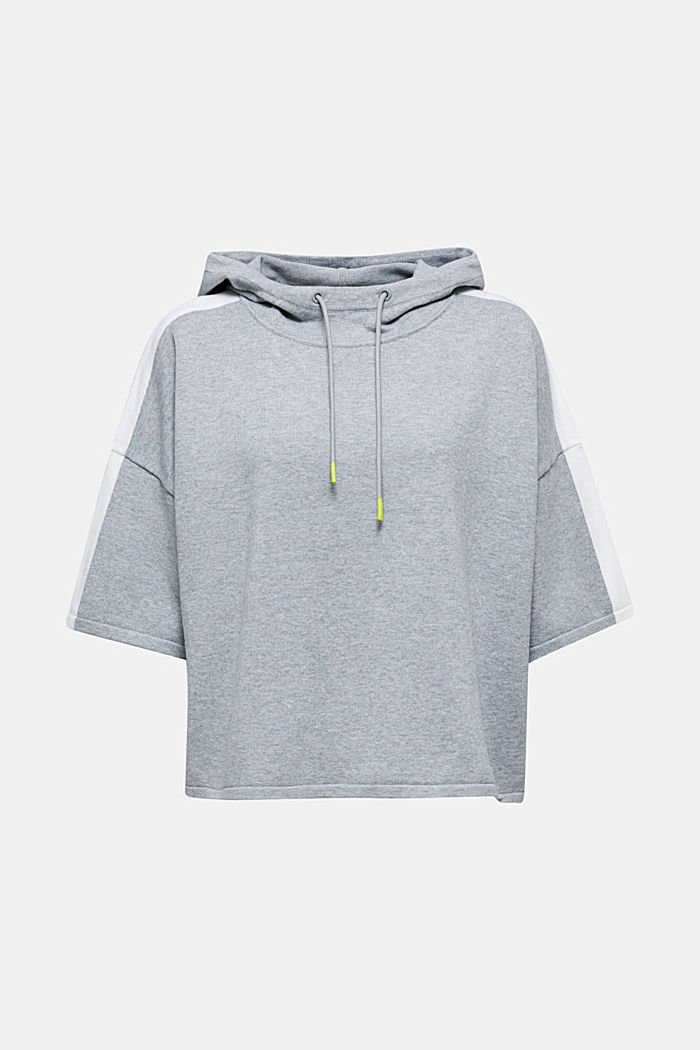 Boxy hoodie jumper with stripes, LIGHT GREY, detail image number 7