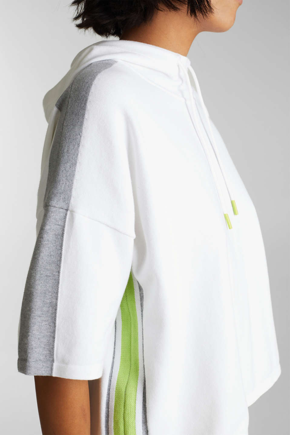 Boxy hoodie jumper with stripes, OFF WHITE 2, detail image number 2