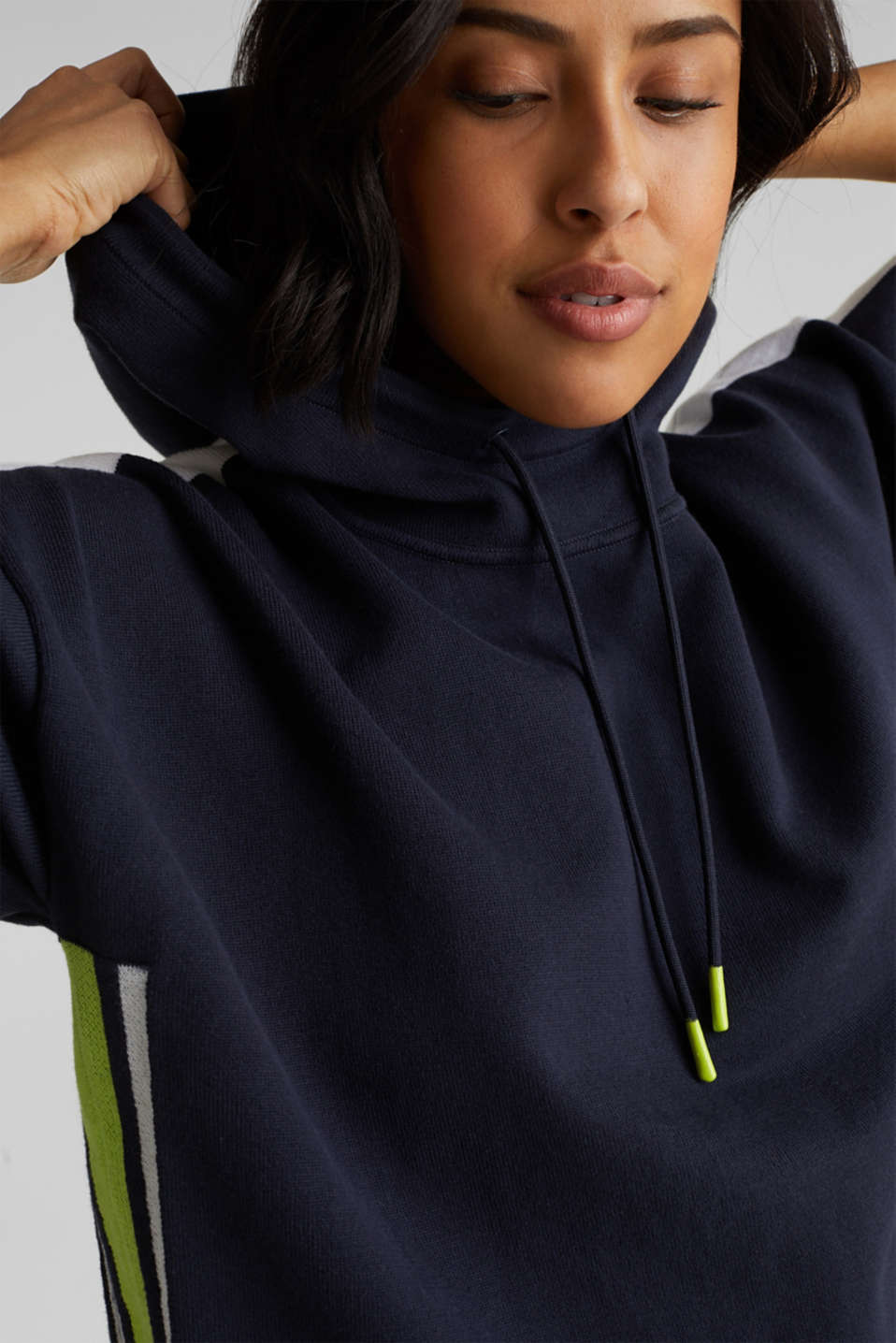 Boxy hoodie jumper with stripes, NAVY 2, detail image number 2