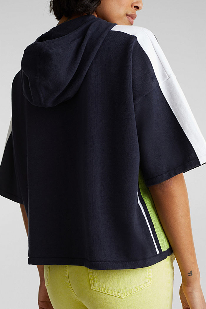 Boxy Kapuzen-Pullover mit Streifen, NAVY, detail image number 5