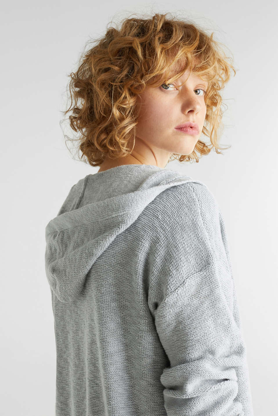 Open hooded cardigan containing linen, LIGHT GREY 5, detail image number 2
