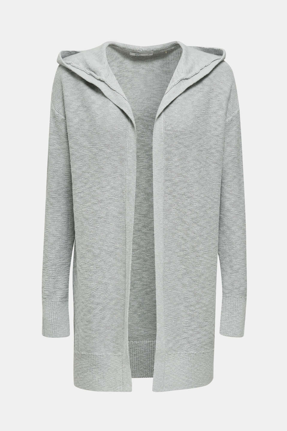 Open hooded cardigan containing linen, LIGHT GREY 5, detail image number 5