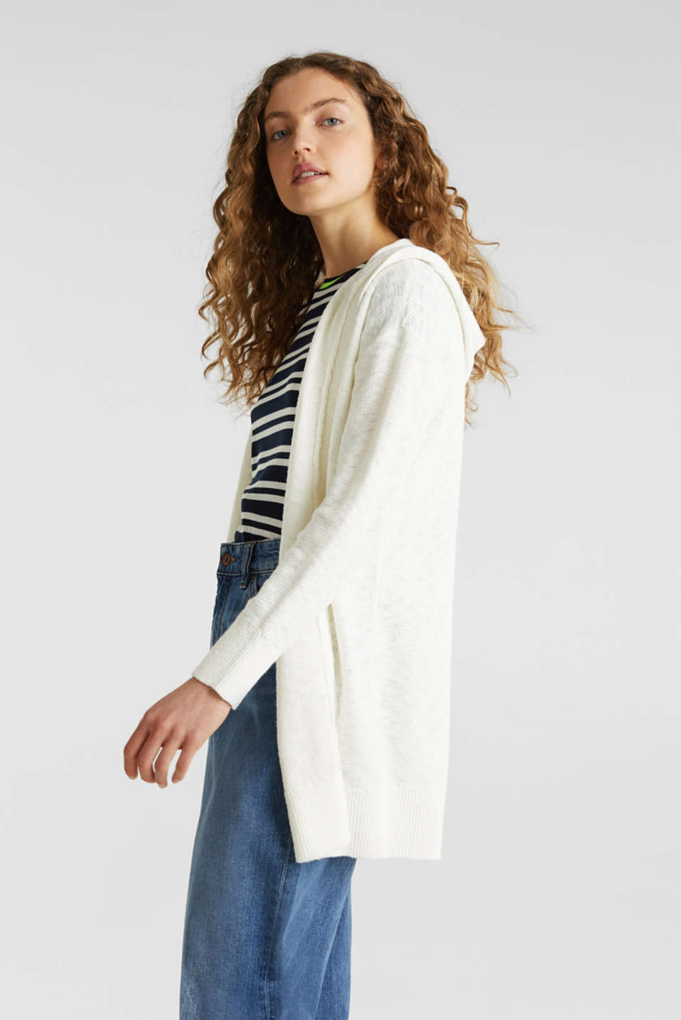 edc - Open hooded cardigan containing linen
