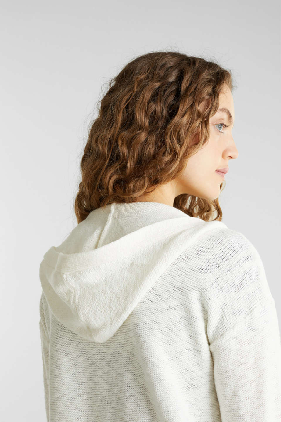 Open hooded cardigan containing linen, OFF WHITE, detail image number 4