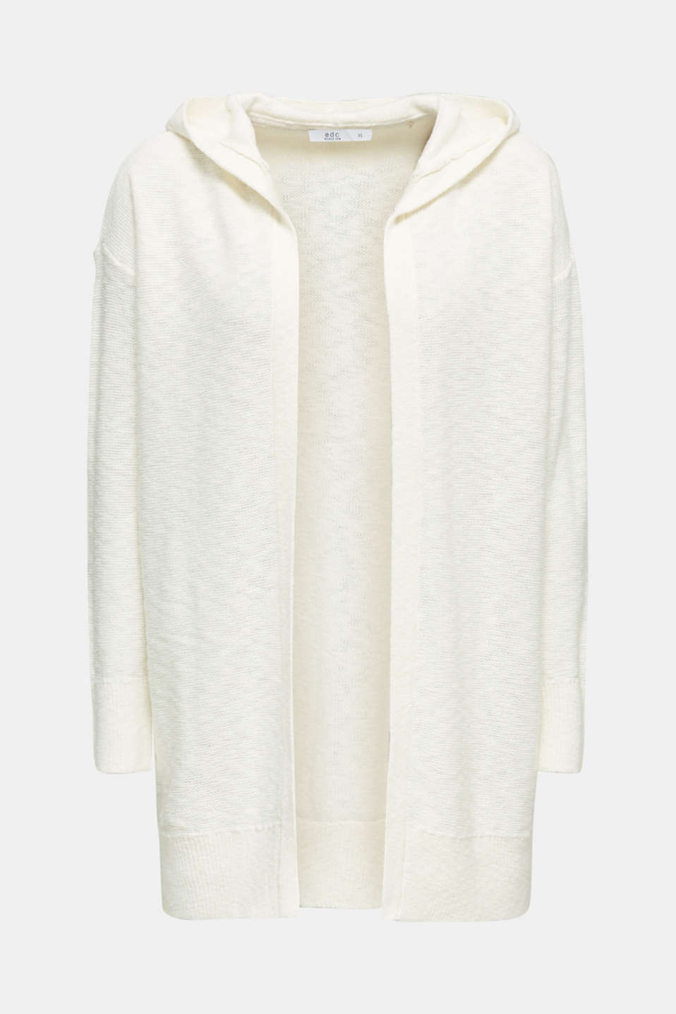 Open hooded cardigan containing linen, OFF WHITE, detail image number 5