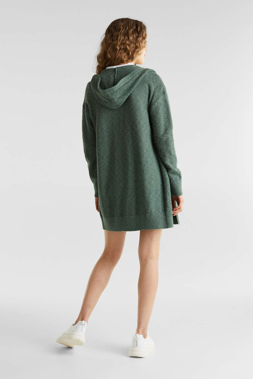 Open hooded cardigan containing linen, KHAKI GREEN, detail image number 2