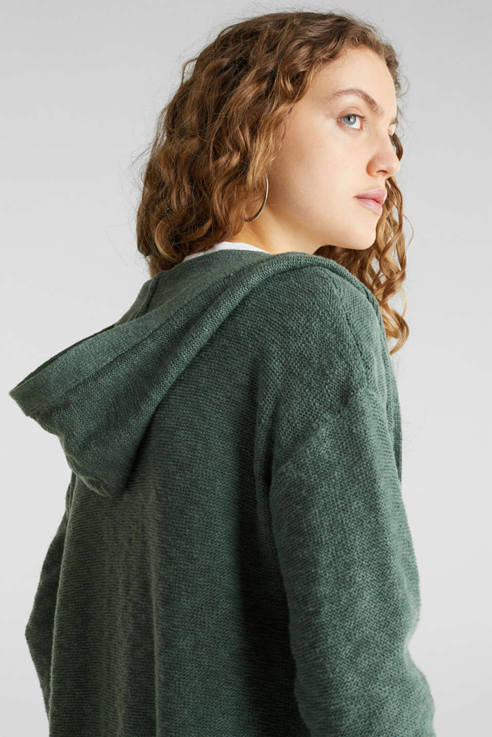 Open hooded cardigan containing linen, KHAKI GREEN, detail image number 4