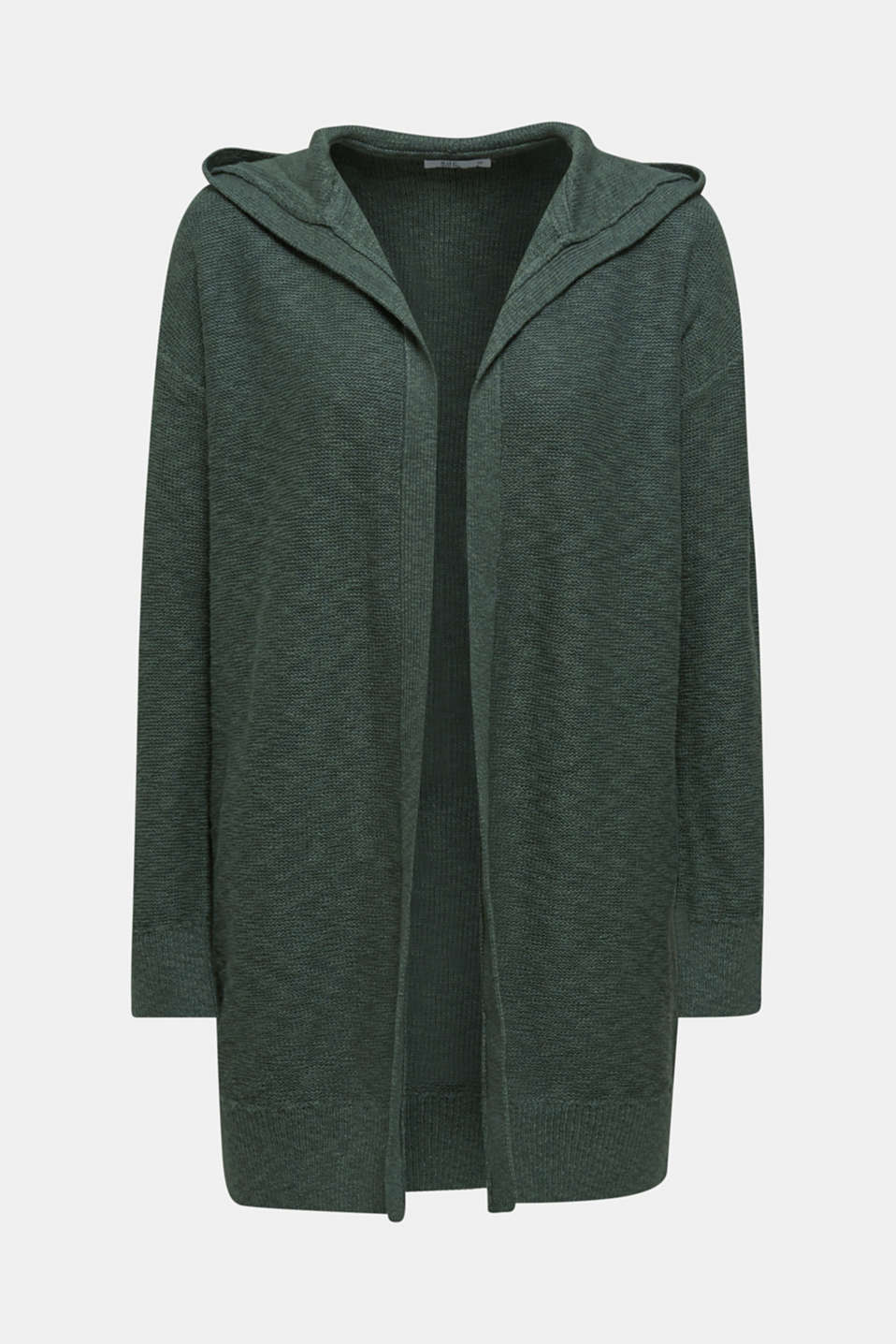 Open hooded cardigan containing linen, KHAKI GREEN, detail image number 6