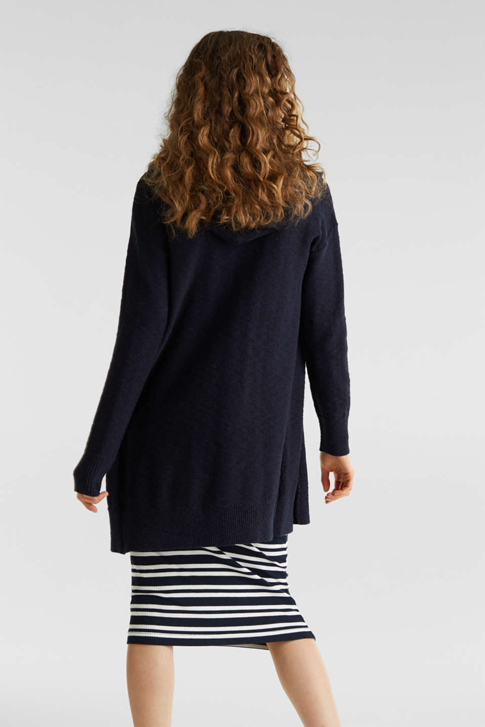 Open hooded cardigan containing linen, NAVY, detail image number 3
