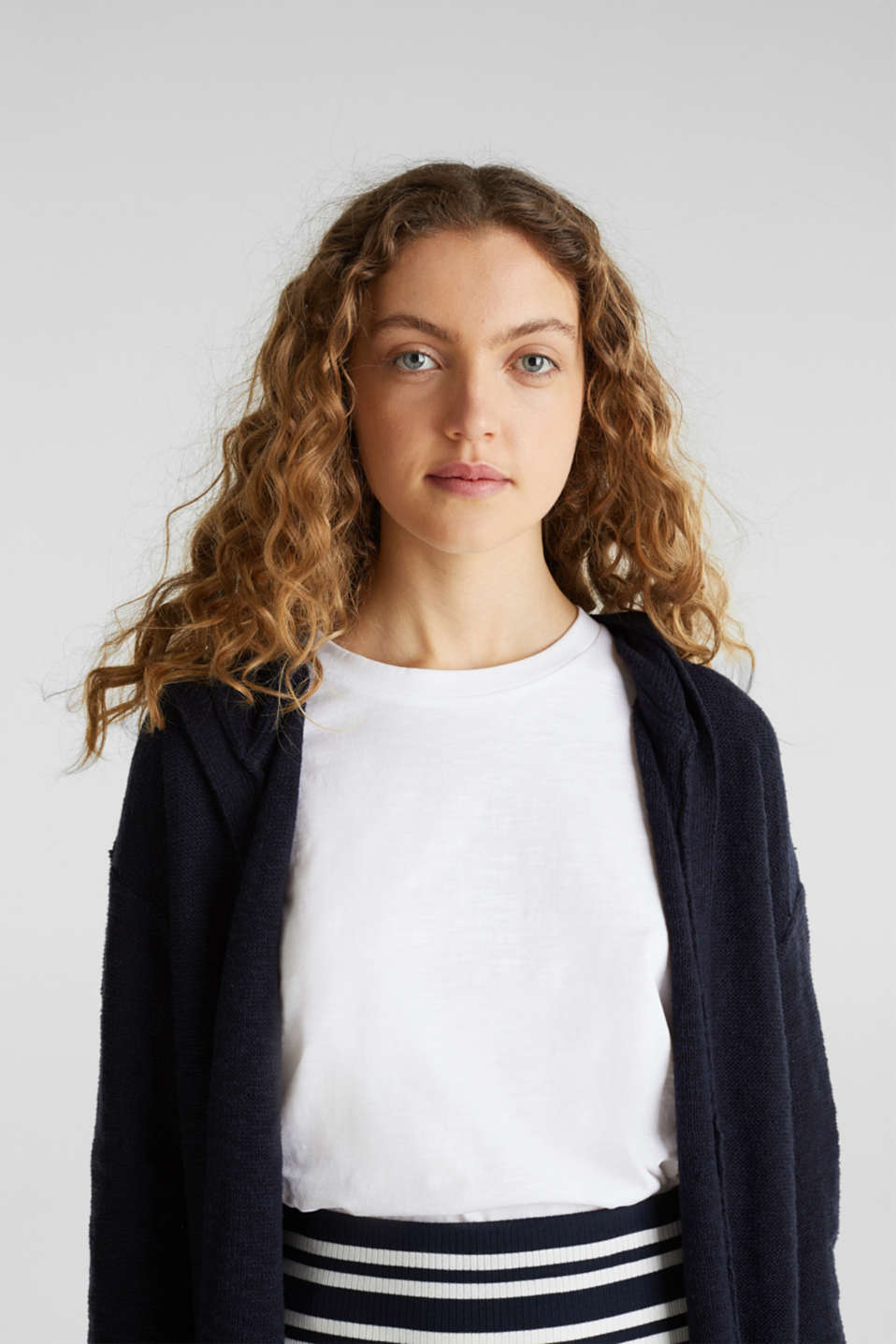 Open hooded cardigan containing linen, NAVY, detail image number 2