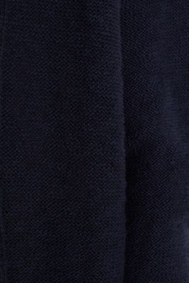 Open hooded cardigan containing linen, NAVY, detail