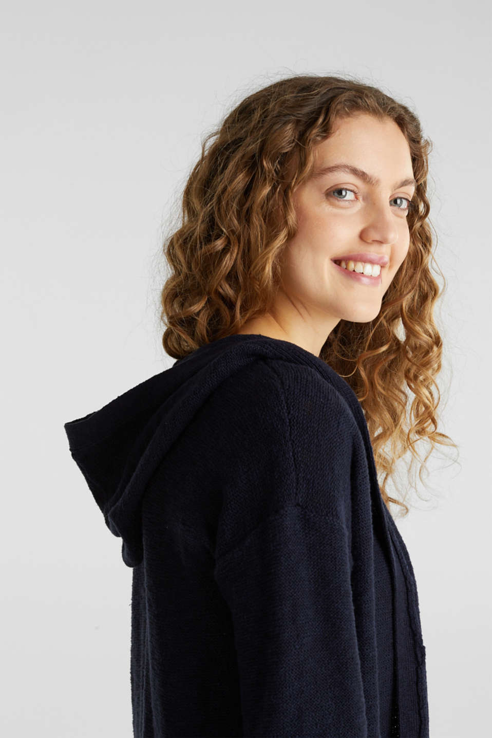 Open hooded cardigan containing linen, NAVY, detail image number 5