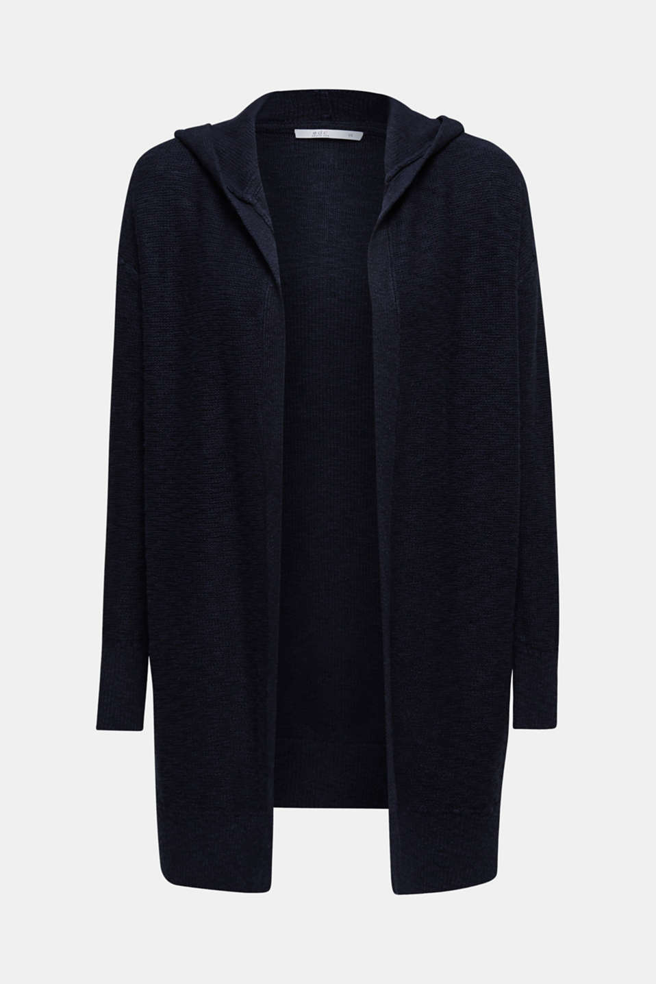 Open hooded cardigan containing linen, NAVY, detail image number 6