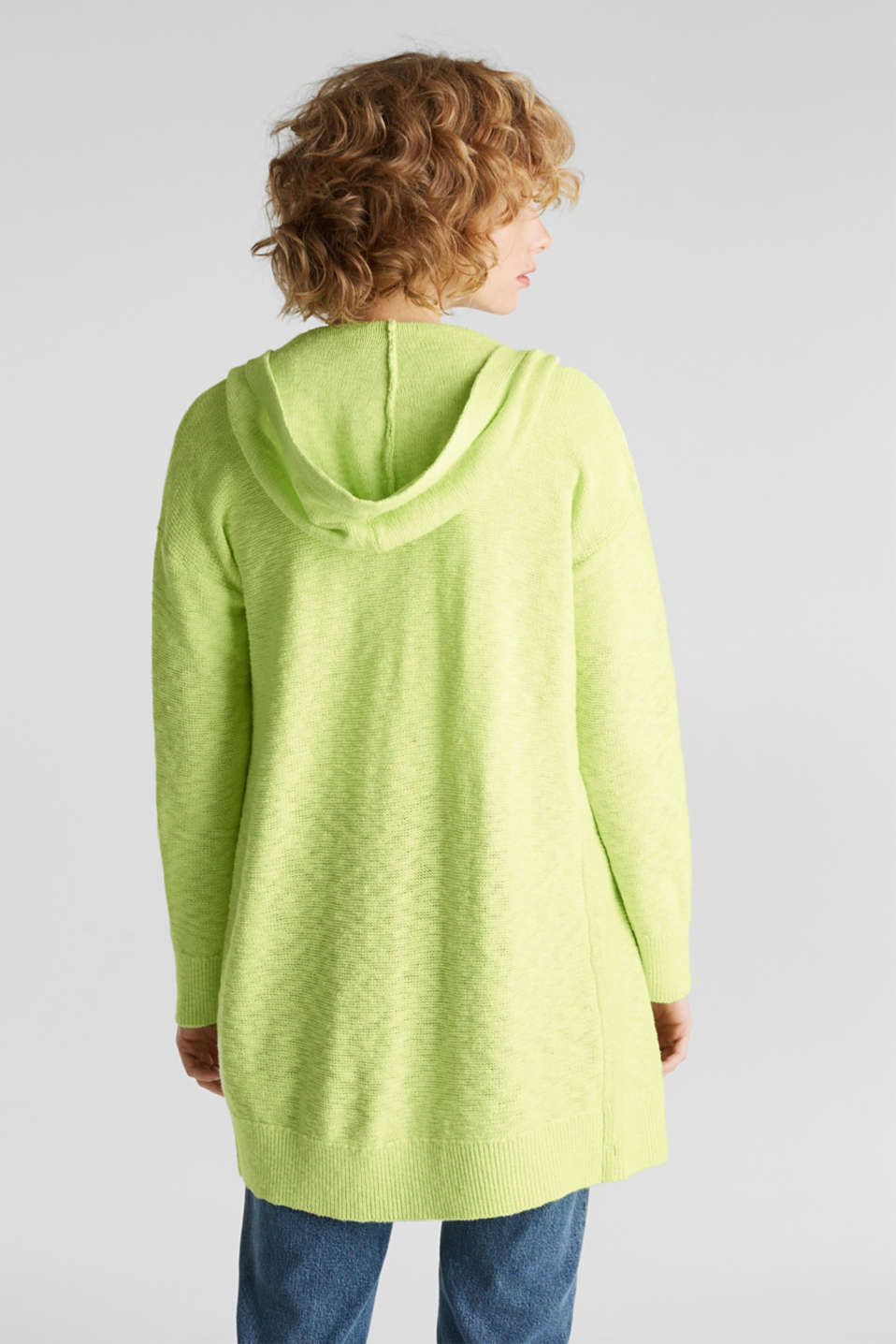 Open hooded cardigan containing linen, LIME YELLOW, detail image number 3