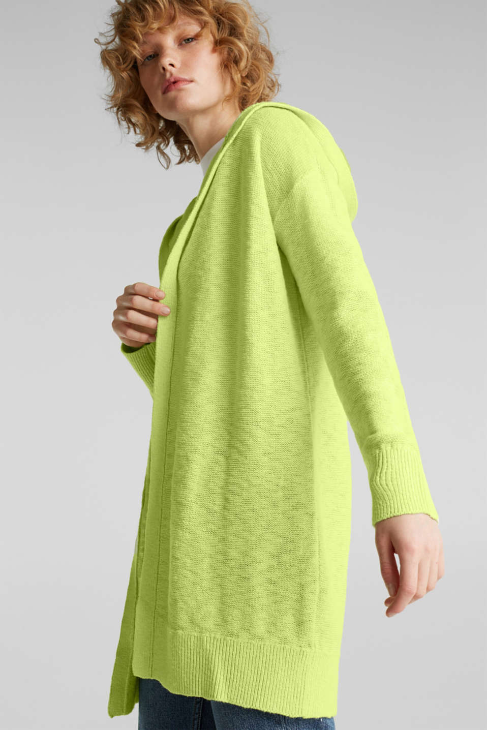 Open hooded cardigan containing linen, LIME YELLOW, detail image number 5