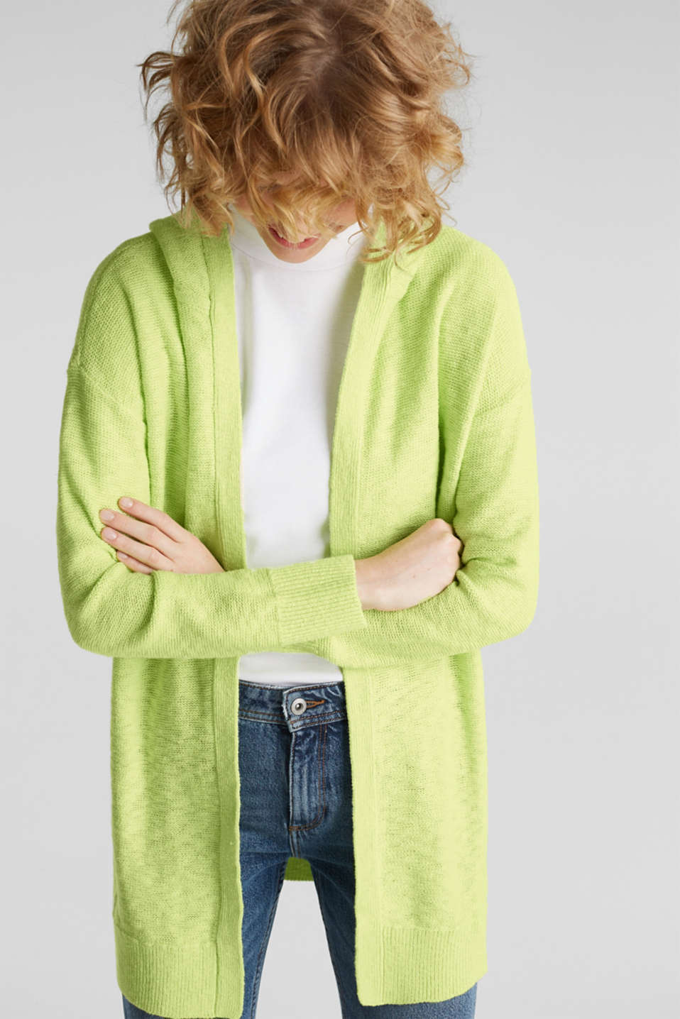Open hooded cardigan containing linen, LIME YELLOW, detail image number 6
