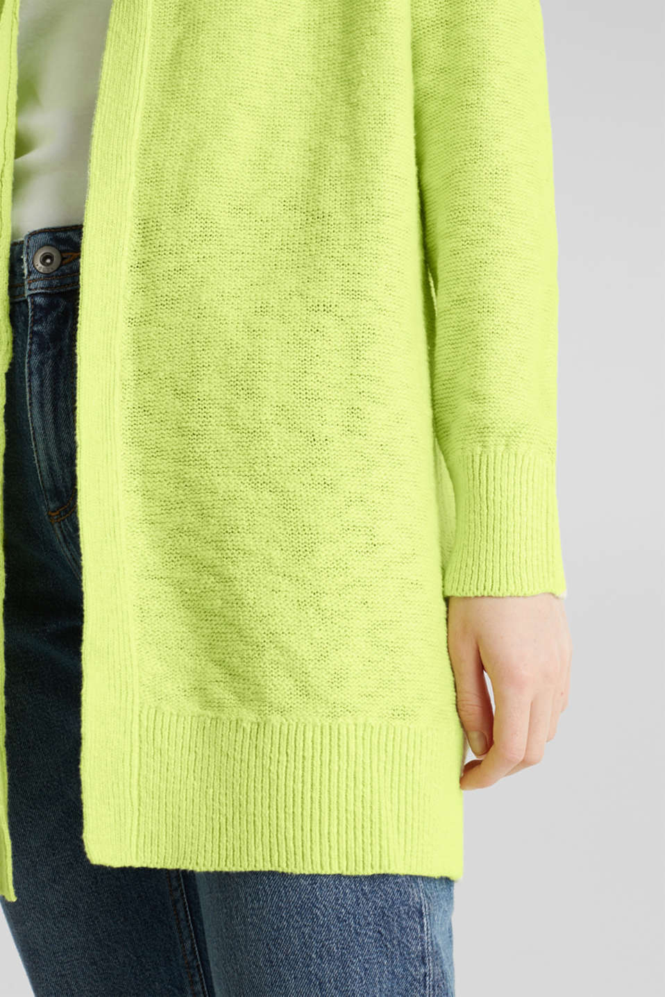 Open hooded cardigan containing linen, LIME YELLOW, detail image number 2