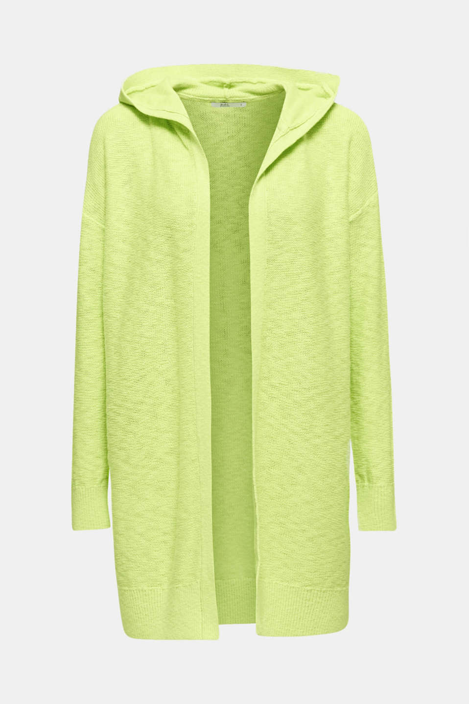 Open hooded cardigan containing linen, LIME YELLOW, detail image number 7