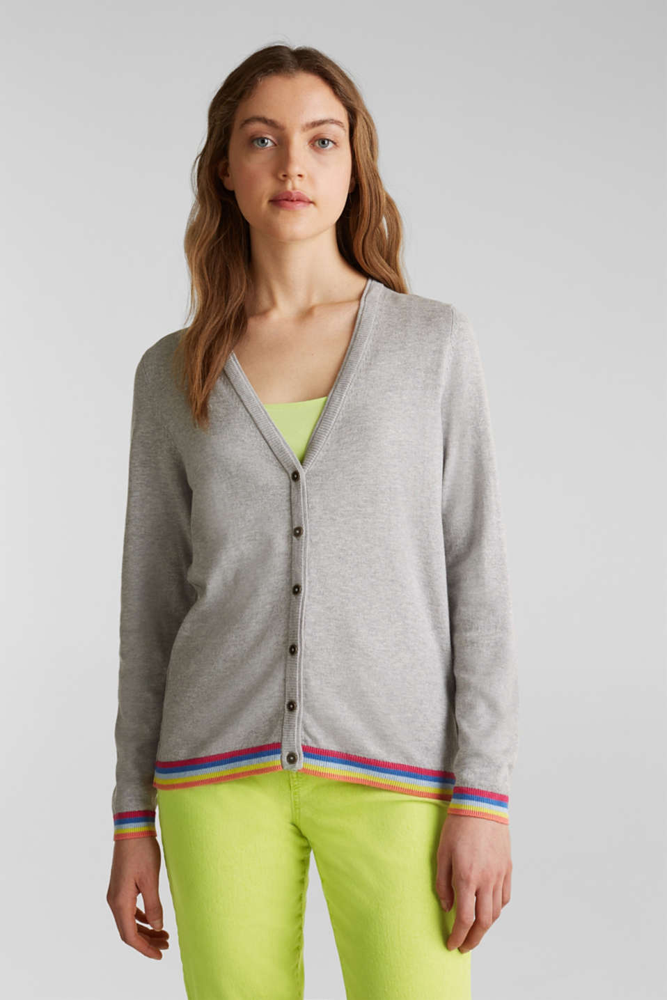Cardigan with multi-coloured borders, LIGHT GREY 5, detail image number 0