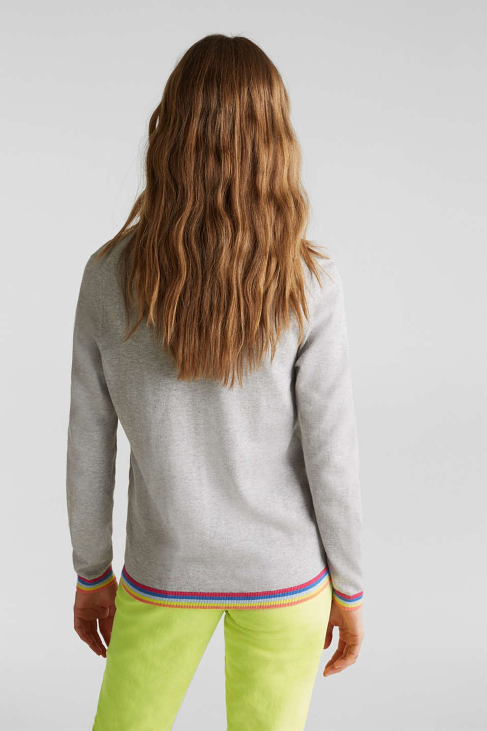 Cardigan with multi-coloured borders, LIGHT GREY 5, detail image number 3