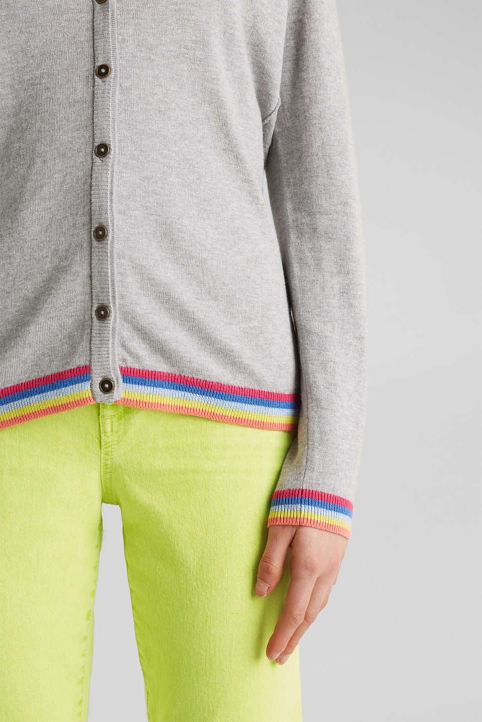 Cardigan with multi-coloured borders, LIGHT GREY 5, detail image number 2