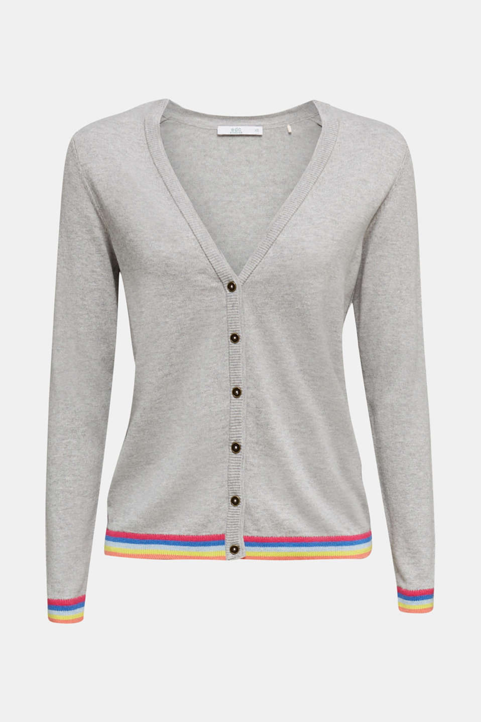 Cardigan with multi-coloured borders, LIGHT GREY 5, detail image number 5