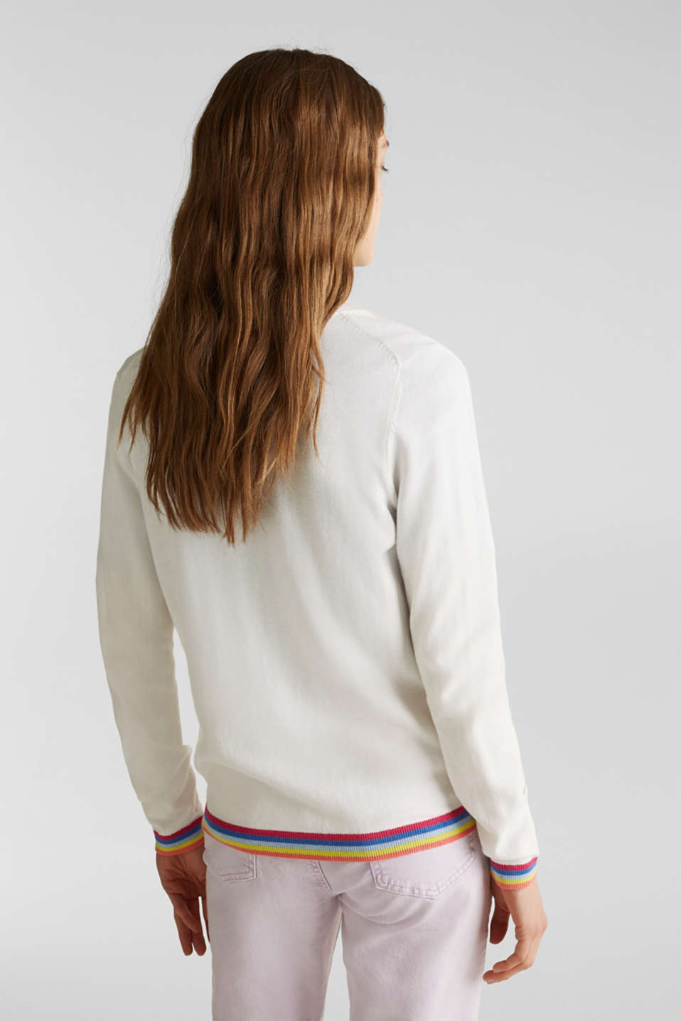 Cardigan with multi-coloured borders, OFF WHITE, detail image number 3
