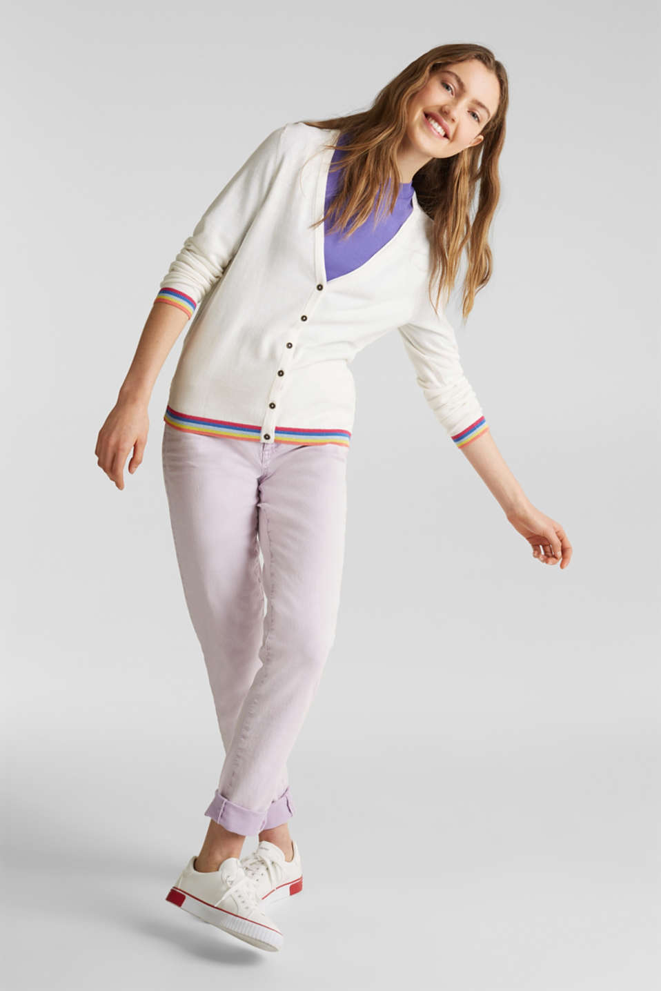 Cardigan with multi-coloured borders, OFF WHITE, detail image number 1