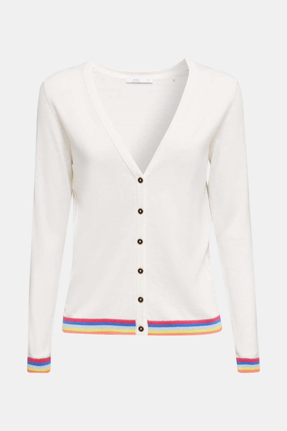 Cardigan with multi-coloured borders, OFF WHITE, detail image number 4