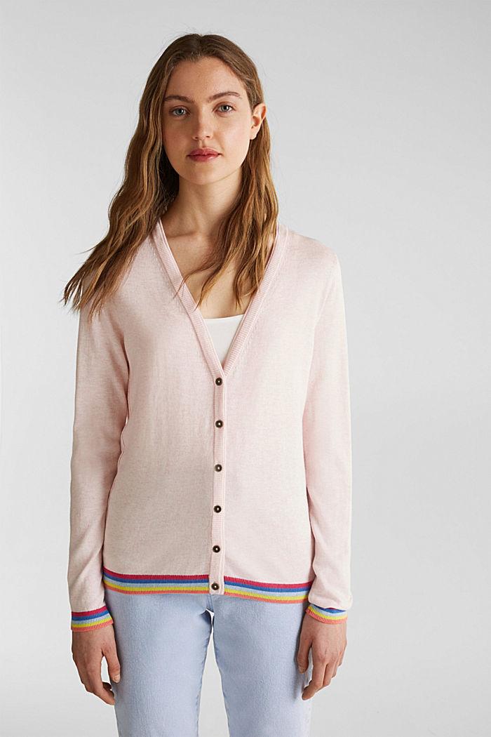 Vest met meerkleurige boordjes, LIGHT PINK, detail image number 0