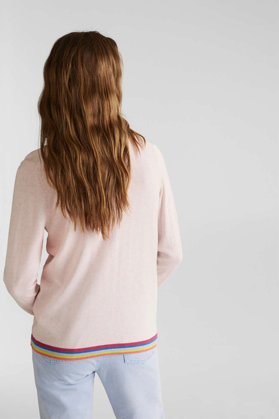 Cardigan with multi-coloured borders, LIGHT PINK, detail image number 3