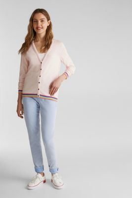 Cardigan with multi-coloured borders, LIGHT PINK, detail