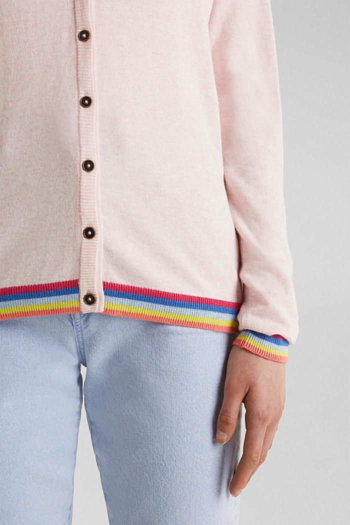 Vest met meerkleurige boordjes, LIGHT PINK, detail image number 2