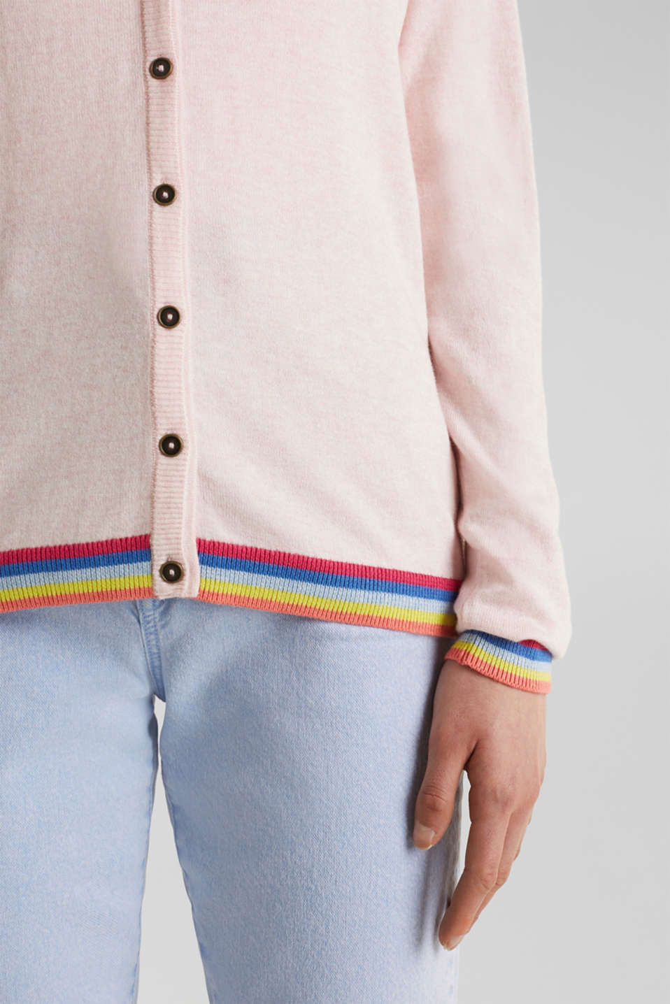 Cardigan with multi-coloured borders, LIGHT PINK, detail image number 2
