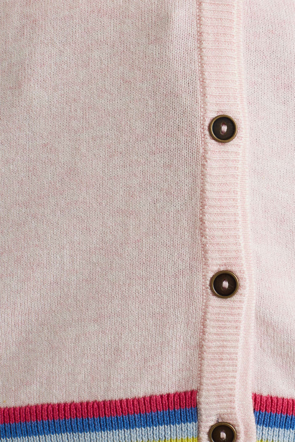 Cardigan with multi-coloured borders, LIGHT PINK, detail image number 4